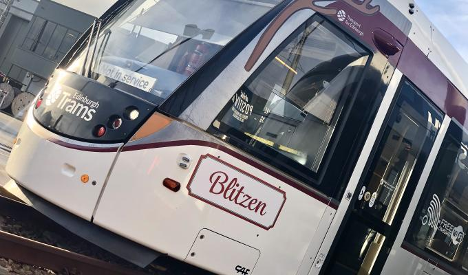Edinburgh Tram renamed Blitzen for the festive season.