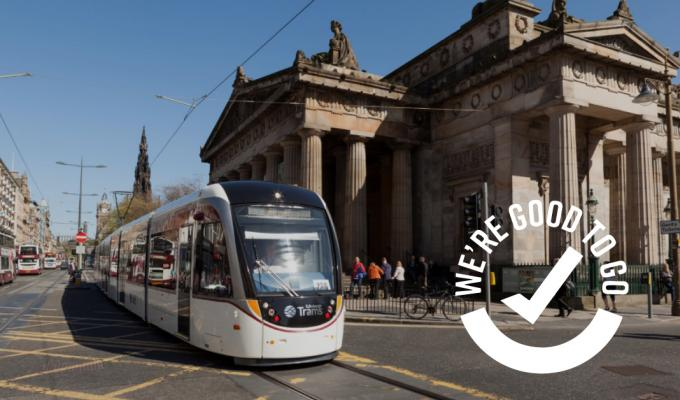 Edinburgh Tram on Princes Street with Good to Go logo