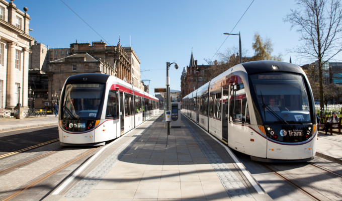 Two Trams In City Centre